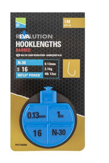 Preston Innovations N30 Revalution Hooklengths clear - nickel witvis witvis onderlijn H16 100cm 0.13mm