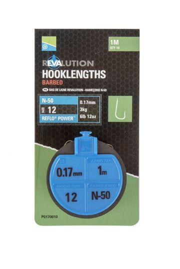 Preston Innovations N50 Revalution Hooklengths clear - nickel witvis witvis onderlijn H12 100cm 0.17mm