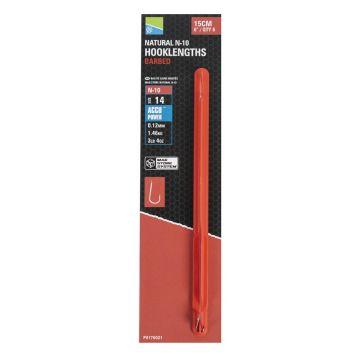 Preston Innovations Natural N-10 Barbed Mag Store Hooklength clear - nickel witvis witvis onderlijn H14 15cm 0.12mm