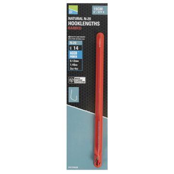 Preston Innovations Natural N-20 Barbed Mag Store Hooklength clear - nickel witvis witvis onderlijn H18 15cm 0.10mm