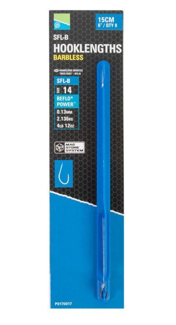 Preston Innovations SFL-B Spade End Mag Store Hooklengths clear - nickel witvis witvis onderlijn H14 15cm 0.13mm