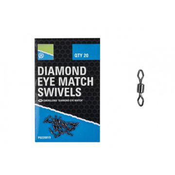Prestoninno Daimond Eye Match Swivels nickel klein vismateriaal Size 14