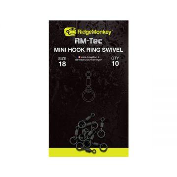 Ridgemonkey RM-Tec Mini Hook Ring Swivel nickel karper klein vismateriaal Size 18