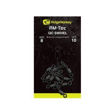 Ridgemonkey RM-Tec Quick Change Inline Swivel nickel karper klein vismateriaal Size 8