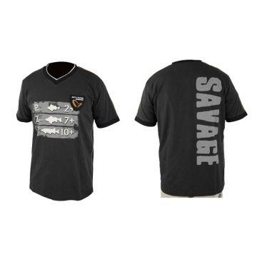 Savagegear Freshwater Tee Short Sleeve zwart - grijs vis t-shirt Small