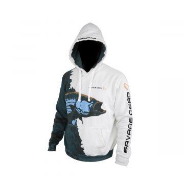 Savagegear Saltwater Hoodie Pullover WIT - GROEN - BLAUW vistrui Medium