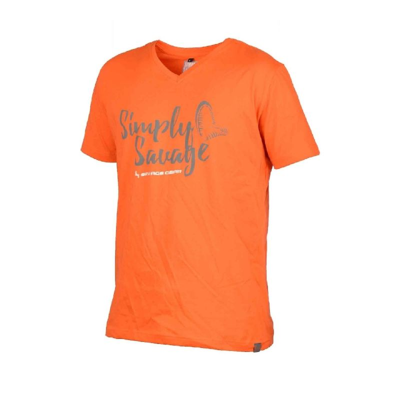 Savagegear Simply Savage V-Neck Tee oranje vis t-shirt Small