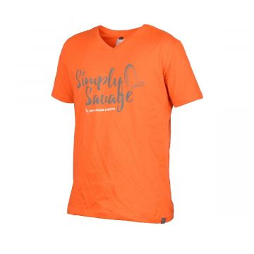 Savagegear Simply Savage V-Neck Tee ORANJE vis t-shirt X-large