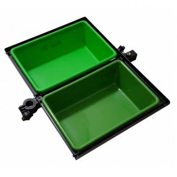 Sensas Aastafel Feeder Jumbo + 2 Bakken groen - zwart witvis  51x41cm D25-36mm