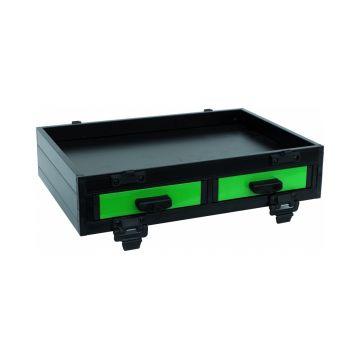 Sensas Blok Vak 2 Schuifladen Front Alu zwart - groen witvis  41x28.5x9cm