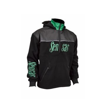 Sensas Fleece Club Bicolore zwart - groen vistrui Medium