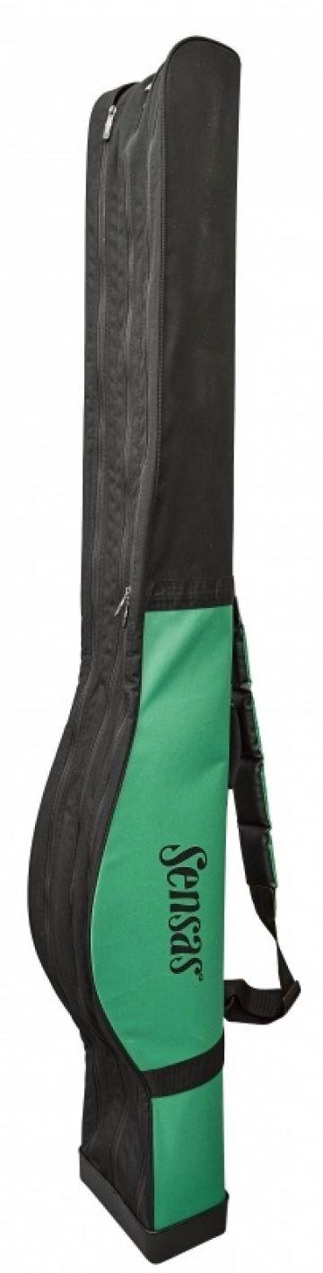 Sensas Foedraal Classic Stijf zwart - groen visfoudraal 190x26x16cm 3 Vakken