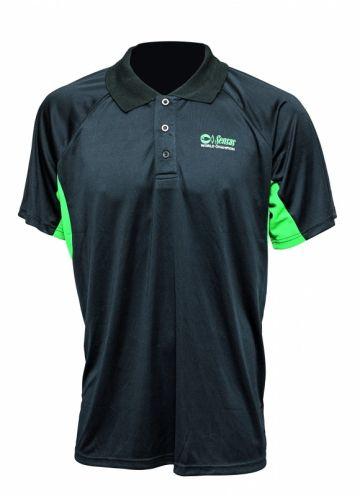 Sensas Polo Ademend zwart - groen vis t-shirt Small