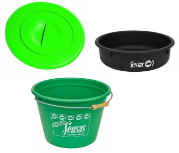 Sensas Set Emmer + Deksel + Binnenbak groen - zwart visemmer 25l