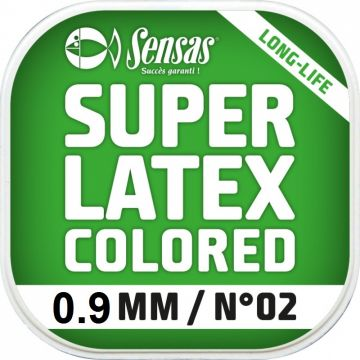 Sensas Super Latex Colored groen witvis viselastiek 0.90mm 6m