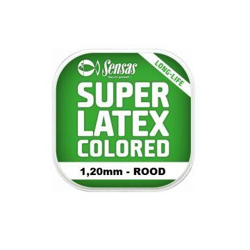 Sensas Super Latex Colored ROOD witvis viselastiek 1.20mm 6m