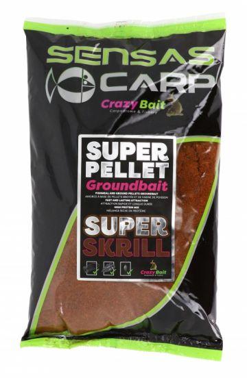 Sensas Super Pellet Groundbait Super Krill 1kg bruin witvis visvoer