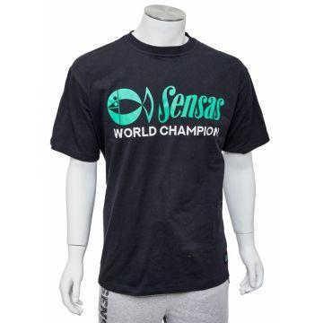 Sensas T-Shirt World Champion Black zwart - groen vis t-shirt Large