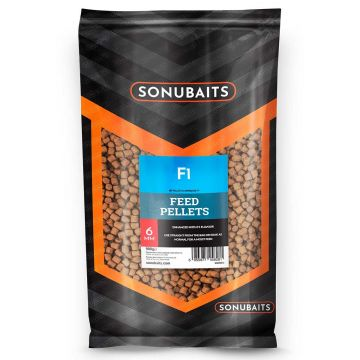 Sonubaits F1 Feed Pellets bruin vispellets 6mm 900g