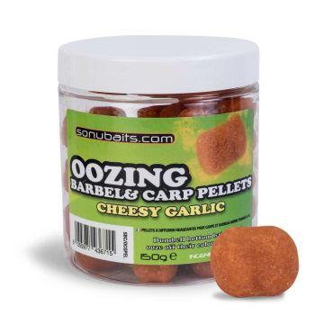 Sonubaits Oozing Barbel & Carp Pellet Chees Garlic geel witvis mini-boilie 12mm 150g