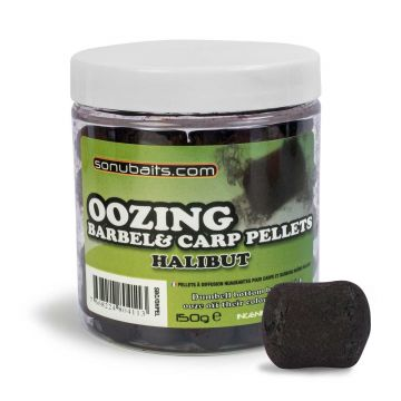 Sonubaits Oozing Barbel & Carp Pellets Halibut zwart witvis mini-boilie 12mm 150g