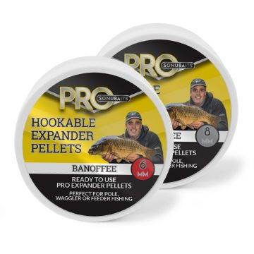 Sonubaits Pro Hookable Expander Pellets Banoffee bruin - geel vispellets 8mm 100g