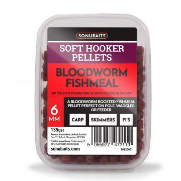 Sonubaits Soft Hooker Pellets Bloodworm Fishmeal rood vispellets 6mm 135g