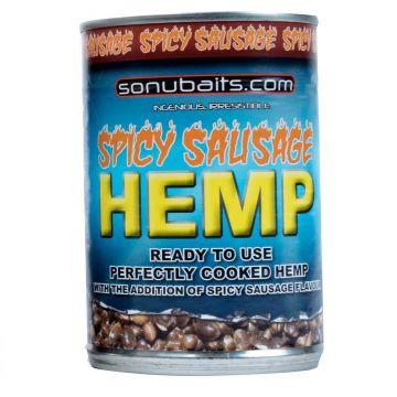 Sonubaits Spicy Sausage Hemp zwart partikel 400g