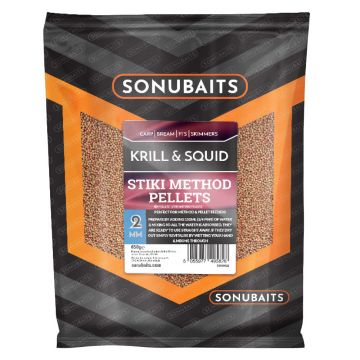 Sonubaits Stiki Method Pellets Krill & Squid bruin - rood vispellets 2mm 650g