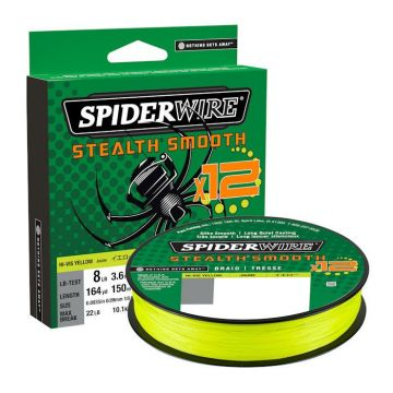 Spiderwire Stealth Smooth X12 yellow gevlochten visdraad 0.11mm 150m