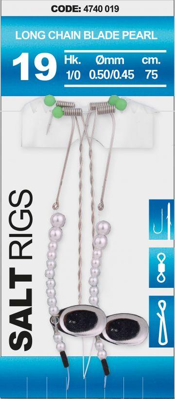 Spro Salt Rig #19 Long Chain Blade Pearl clear - zilver - pearl zeevis zee onderlijn H1/0