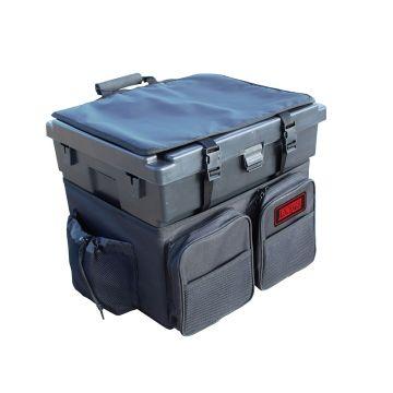 Tronixpro Beach Seat Box Rucksack zwart zeevis visbak