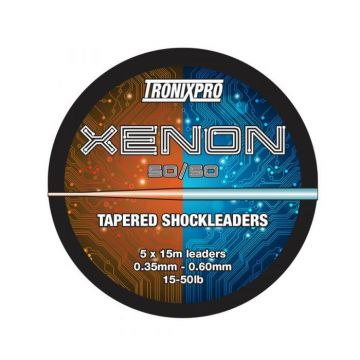 Tronixpro Xenon Tapered Leaders 50/50 orange - clear zeevis visdraad 25° - 60° 5 X 15m