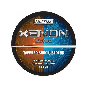 Tronixpro Xenon Tapered Leaders 50/50 orange - clear zeevis visdraad 28° - 60° 5 X 15m