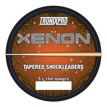 Tronixpro Xenon Tapered Leaders orange zeevis visdraad 28° - 60° 5 X 15m