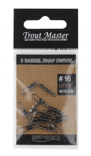 Troutmaster 3-Jointed Rolling Swivel + Snap nickel viswartel Size 18 7kg