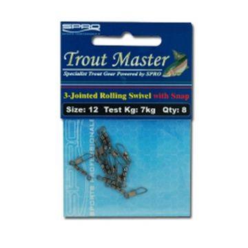 Troutmaster 3-Jointed-Swivel Met Snap nickel viswartel 12