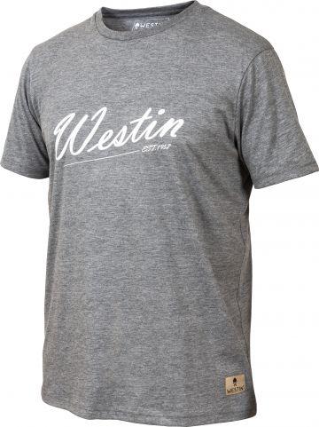 Westin Old School T-Shirt grijs - wit vis t-shirt Large