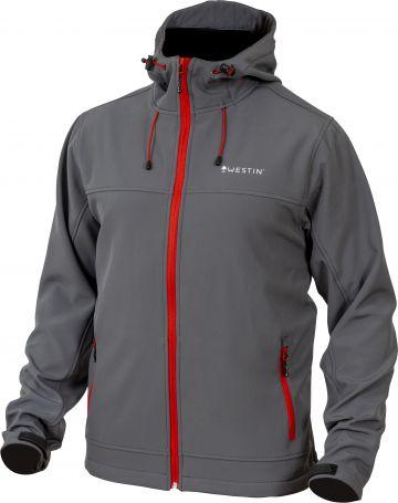 Westin W4 Softshell Jacket grijs - rood visjas Large